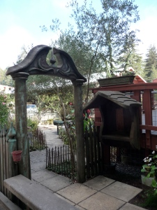 The garden gate at Berry's Sawmill is intricately carved