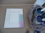 Trying reddish and greenish water based stain on a sample door