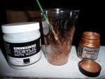 Acrylic matte medium and metallic pigment powder