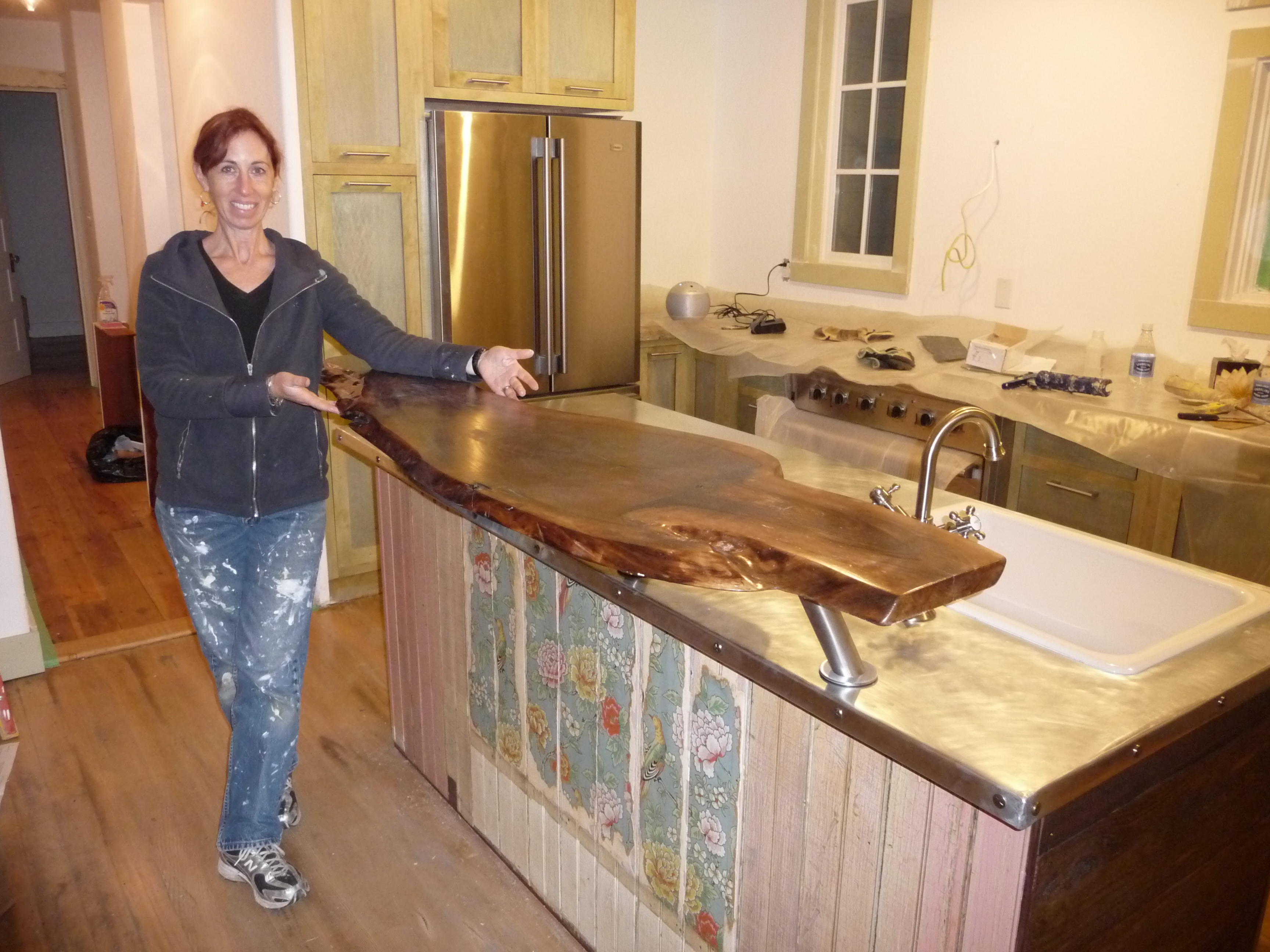 Beth stands by finished kitchen island & How to make a zinc island counter (part 3) \u2013 School Daze