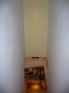 schoolhouse stairwell showing paint treatment
