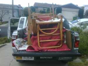Ford truck loaded with furniture