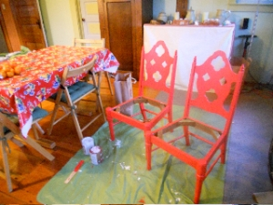 chairs painted red