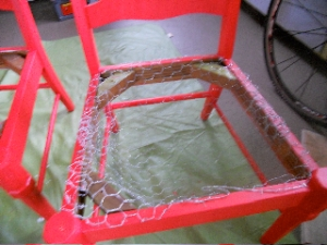 chair seats lined with chicken wire
