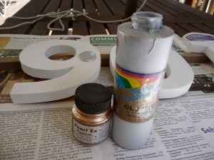 Silver paint with letters